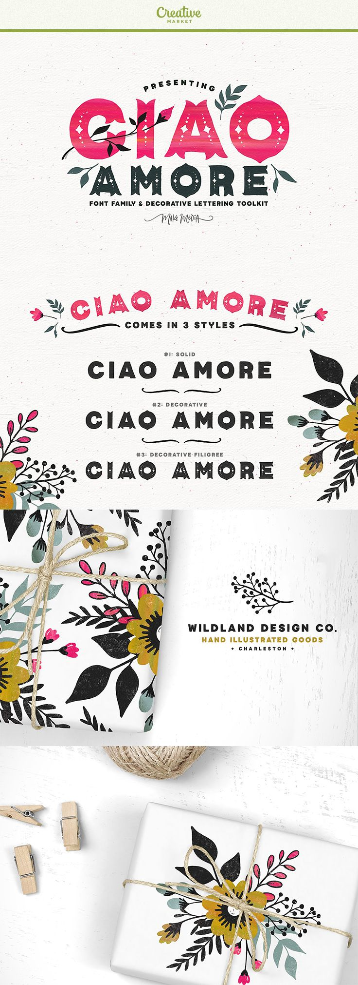 Affiliate | Now you can use this delicate lettering kit to design gorgeous typography, floral designs, packaging, greeting cards, logos and TONS more - all with with a unique, decorative flair! With over 200 hand-drawn elements, 3 versatile fonts, and a set of acrylic Photoshop Styles, the sky's the limit on design and color!