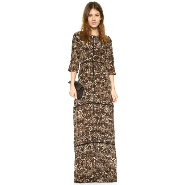 The Kooples Long Leopard Print Dress ($625) ❤ liked on Polyvore featuring dresses, brown dresses, leopard print dress, sheer dress, leopard maxi dress and see-through dresses