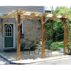Attached pergola. In theory, ours would extend from the concrete pad at the east side of our house north over a (to-be-built) paver patio. Somehow wrapping the corner to cover back doorway/stoop? Is a corner-wrap even possible? Hmm.