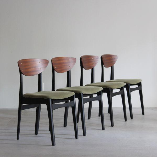 Vintage Dining chair set / Nathan イギリスで買付けたネイサン社製のビンテージダイニングチェア。 当時イギリスで人気だった北欧スタイルを継承しながらも、ペイントや真鍮のパーツを取り入れた個性的なダイニングチェア。 #Nathan#イギリスビンテージ#ビンテージダイニングチェア#G-PLAN#北欧ダイニングチェア#