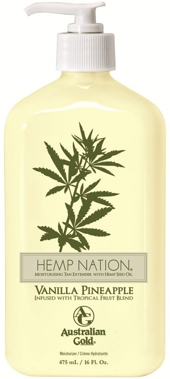 Hemp Nation® Vanilla Pineapple Tan Extender Infused with Tropical Fruit Blend 16 Fl. Oz. Vanilla Pineapple Fragrance  ake your skin on a tropical fruit getaway to a lavishly hydrated paradise. Decadent Vanilla Pineapple Tropical Fruit Blend deeply nourishes and revitalizes for a silky, luxurious perfect tanning canvas. Pure Hemp Seed Oil replenishes thirsty skin with essential fatty and amino acids for silky, smooth, touchable skin