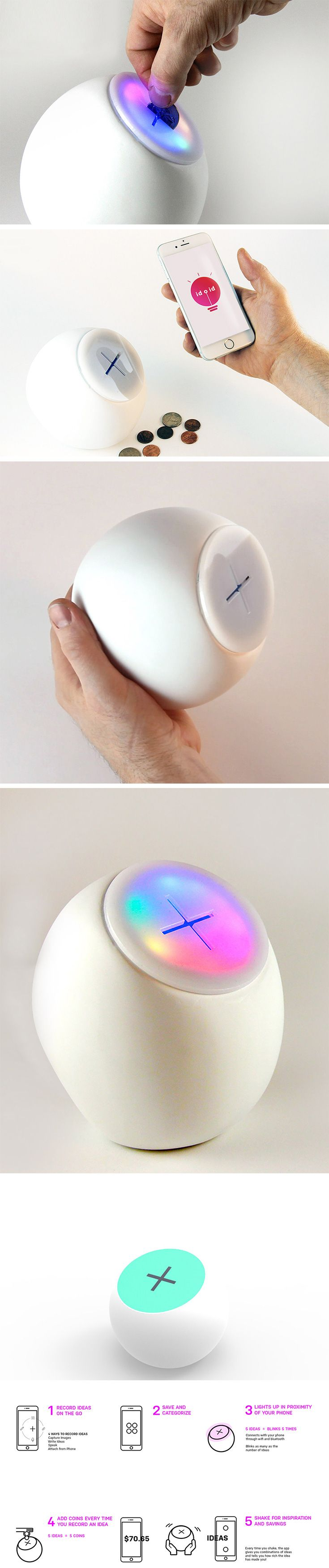 """Inspired by the very idea that we forget ideas IDOID is a method to safe keep your EUREKA moments. This small interactive, fun product looks like a piggy bank, but it's actually an """"idea bank"""". It comes with a companion App called IDOID from which you can record all your brilliant brainwaves, thoughts, inspirations and ideas on the go!"""