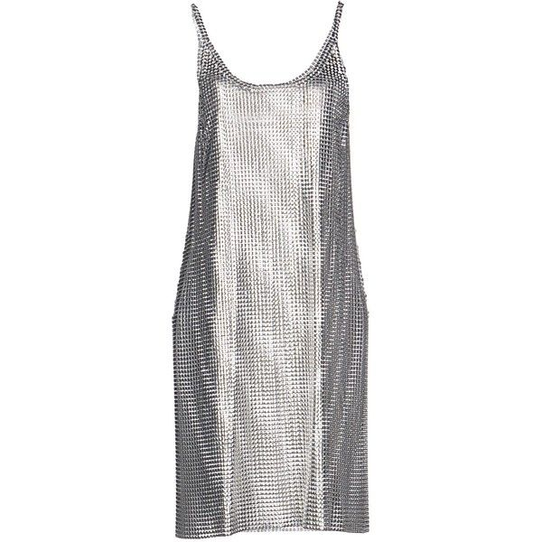 Paco Rabanne Short Dress (€1.970) ❤ liked on Polyvore featuring dresses, silver, short white dresses, pocket dress, no sleeve dress, paco rabanne and sleeveless short dress