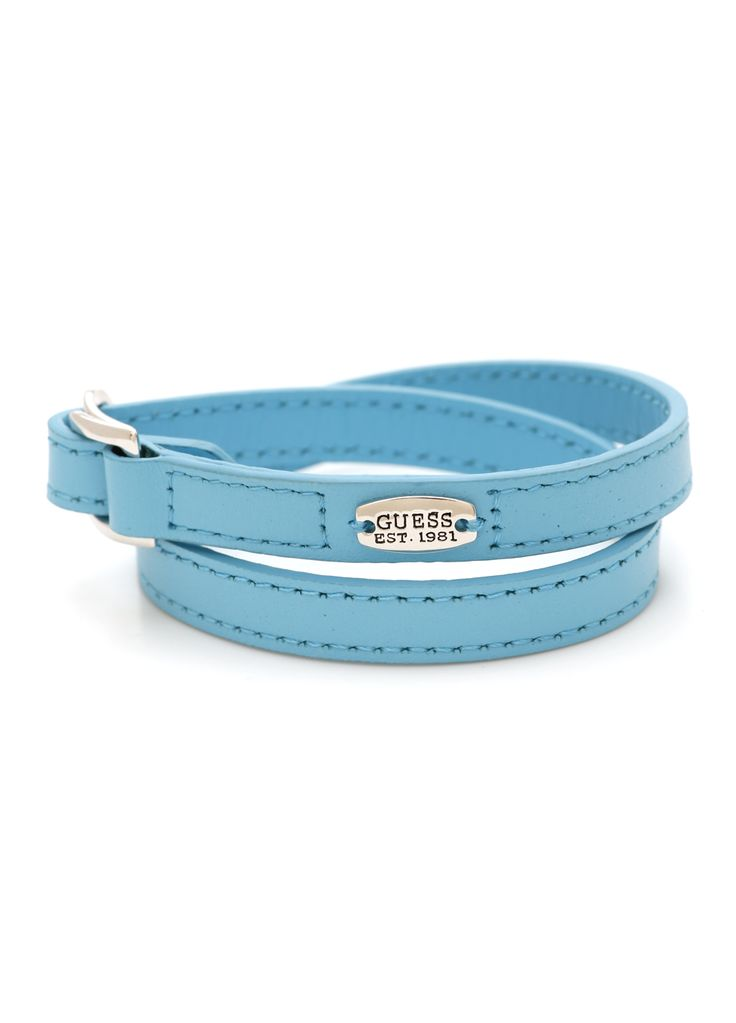37AUD+shipping Wrap Leather Bracelet Designer: GUESS / Colour: Light Cerulean blue/ Legnth: 36.5cms / Material: Lead Free, Nickel Free, Cadmium Free, Silver Plated and/or Austrian Crystal Stones