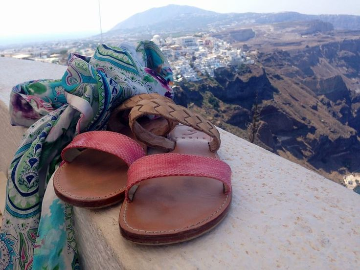 Amaryllis sandals and Mykonos scarf , spotted in the incredible island of Santorini !