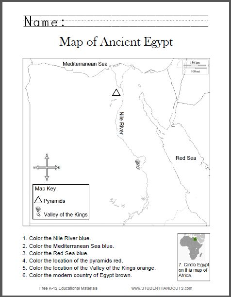 map of ancient egypt worksheet for kids grades 1 6 student handouts cc 1geography history. Black Bedroom Furniture Sets. Home Design Ideas