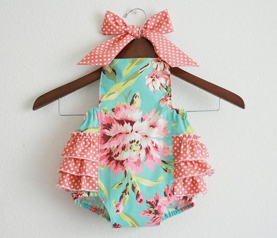 Ruffles & Bows & Turquoise & Pink, oh my!: Style Sunsuit, Retro Styles, Baby Clothes, Baby Girl, Retro Sunsuit