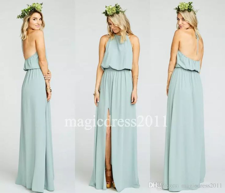 2016 Modest Sage Chiffon Ruffles Long Halter Bridesmaid Dresses Floor Length Open Back Boho Country Wedding Party Maid of Honor Gowns Forma Cheap Chiffon Bridesmaid Dress Sage Boho Bridesmaid Dress Maid of Honor Gowns Online with $72.0/Piece on Magicdress2011's Store | DHgate.com