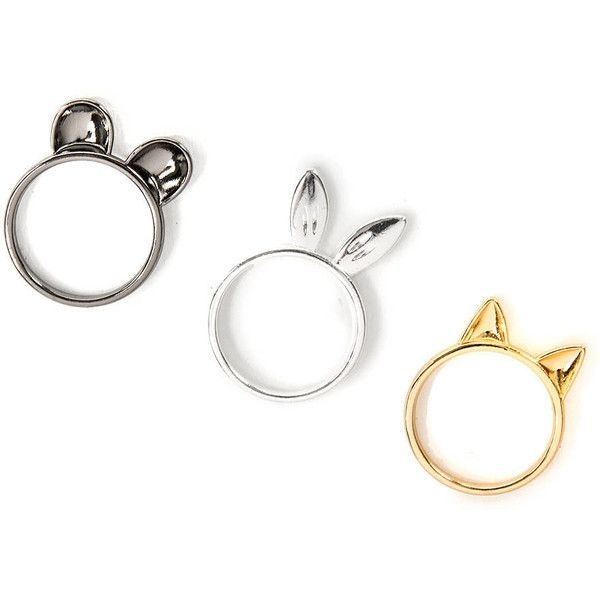 Your eclectic style just got more fun with these animal ear rings. Includes: silver bunny, gold cat and hematite mouse ears.