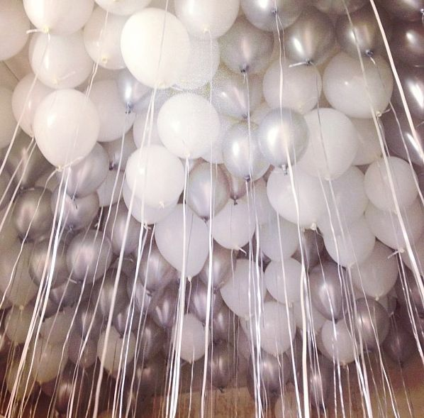 stylish balloons! Silver and white balloons create an elegant scene