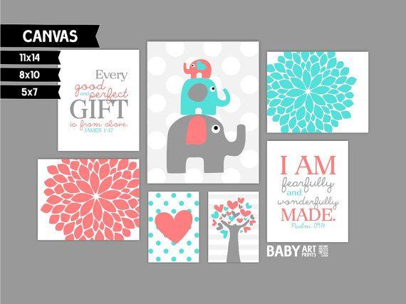 Coral and Turquoise Nursery canvas art prints, Set of 7, Elephants, Tree, Flowers, James 1:17 ( MS123 )