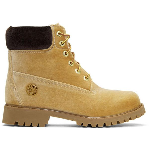 Off-White Tan Timberland Edition Velvet Boots ($865) ❤ liked on Polyvore featuring men's fashion, men's shoes, men's boots, tan, mens round toe cowboy boots, mens lace up shoes, mens tan shoes, mens velvet shoes and mens lace up boots
