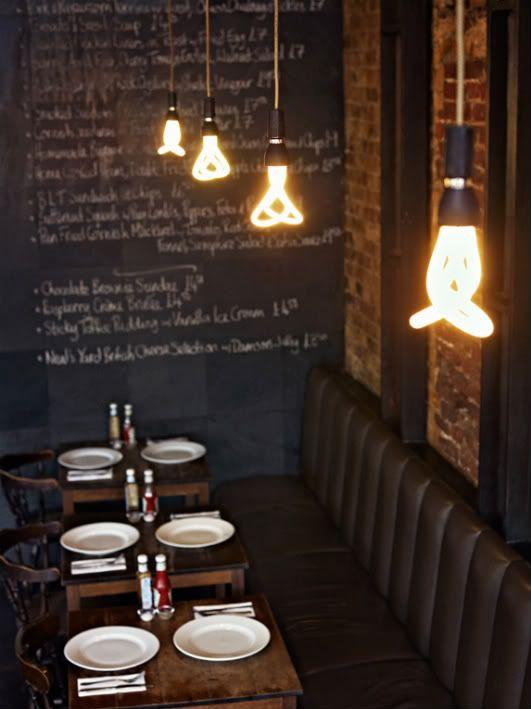 love industrial restaurant interiors.: Ideas, Trav'Lin Lights, Interiors, Chalk Boards, Lights Bulbs, Restaurant, Lightbulbs, Design, Chalkboards Wall