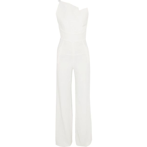 Roland Mouret Colston stretch-crepe jumpsuit (310570 DZD) ❤ liked on Polyvore featuring jumpsuits, jumpsuit, white, evening jumpsuits, special occasion jumpsuits, cocktail jumpsuit, roland mouret jumpsuit and jump suit