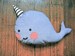 'Mister Narwhal' by raisedbythewolves.etsy.com / raised by the wolves / handmade / doll / toy / softie / narwhal / Etsy /