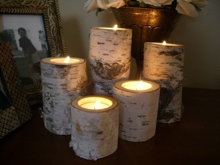 Birch bark log Candle holders!! I'll be making these this summer!! #Alaska #BIRCH
