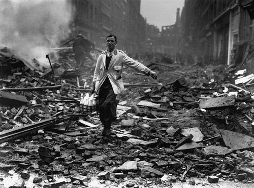 A milk delivery during the Blitz.