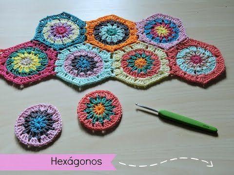 Cómo hacer y unir hexágonos de ganchillo - How to make crochet hexagons - YouTube