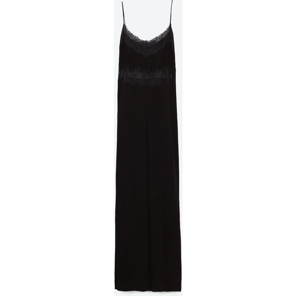 LONG JUMPSUIT WITH LACE DETAIL - JUMPSUITS-TRF | ZARA United States ($70) via Polyvore featuring jumpsuits, jump suit and long jumpsuits