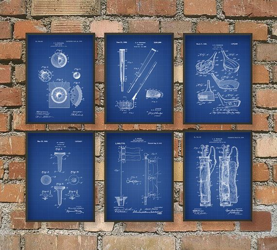 Golf Patent Wall Art Poster Set of 6 PGA Golf by QuantumPrints