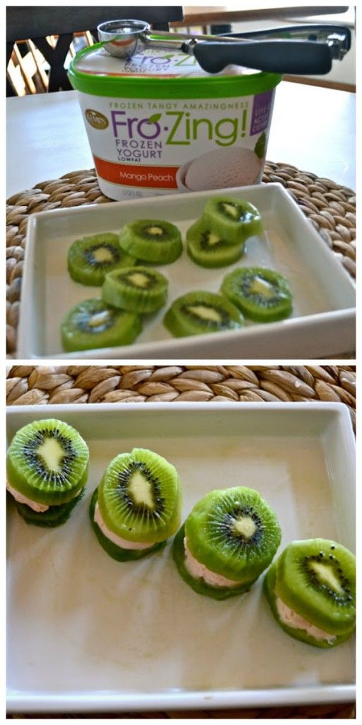 Cute idea for St Patrick's day: Kiwi and Frozen Yogurt Sandwiches. Be sure to check if there are any kiwi allergies in class first!