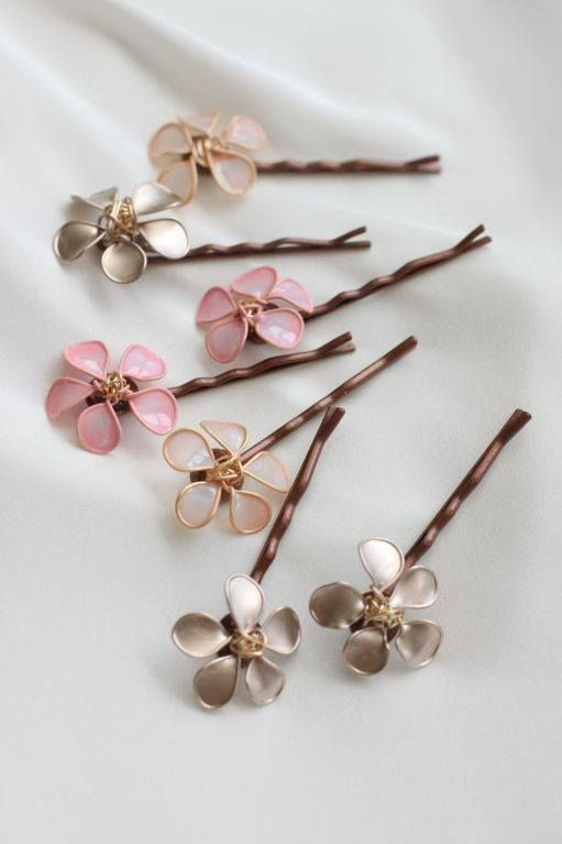 Make hair clip Flower with Wire and Nail Polish #diy #crafts