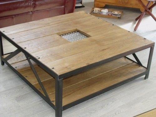 Table basse carr e bois et m tal meuble loft game room - Table basse metal industriel ...