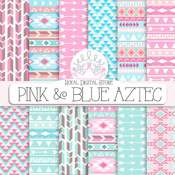 """Tribal Digital Paper: """" Pink & Blue Aztec Digital Paper"""" with tribal, aztec patterns, backgrounds in pink, blue, mint, geometric #paper #party"""