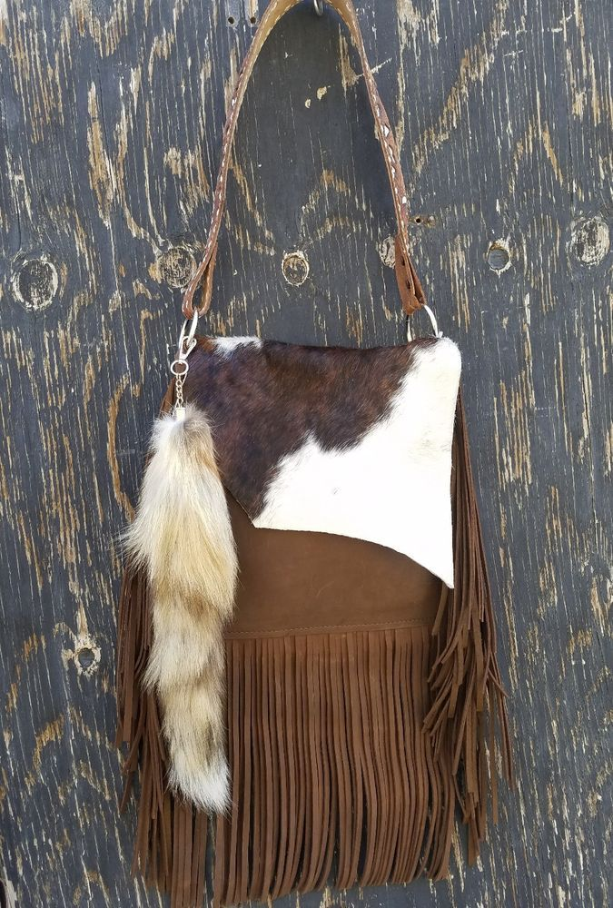 5fc483089e59c Western Distressed Leather CowHide Handbag Purse w/ Fringe & Fox ...