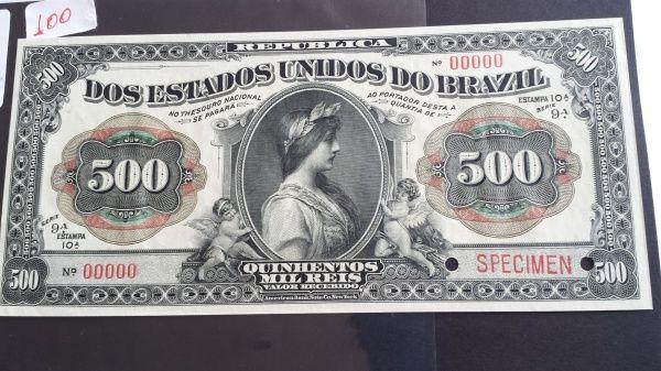 RARISSIMA BRASIL - 500 MIL RÉIS Catalogo Amato de Cédulas do Brasil referência R158S Conservaç