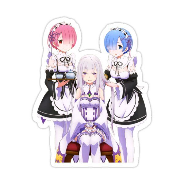 Ram And Rem Re Zero Sticker By Anime Dude In 2021 Anime Ram And Rem Chibi