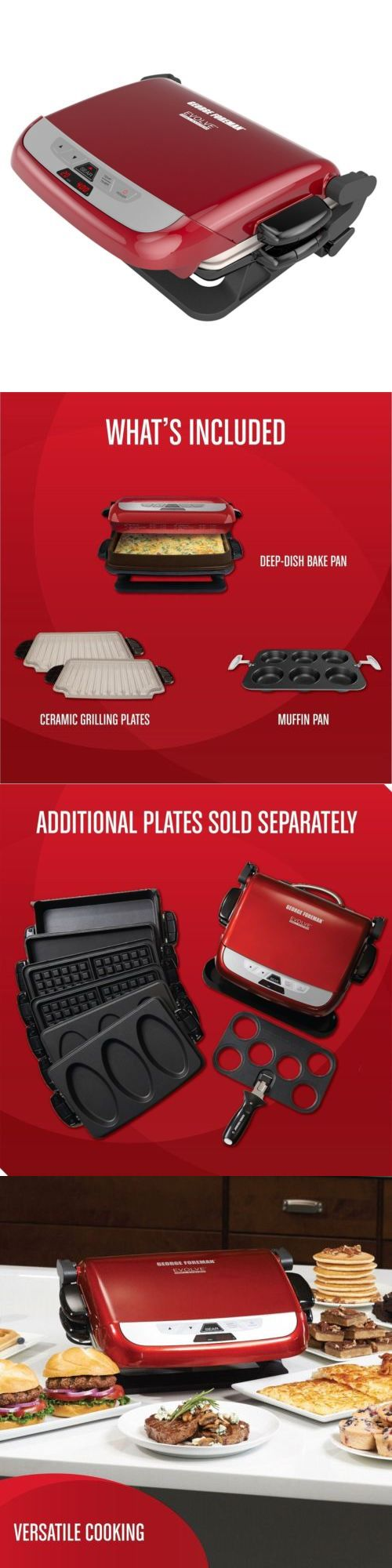 Grills and Griddles 20675: Red, George Foreman Grp4800r Multi-Plate Evolve Ceramic Grill -> BUY IT NOW ONLY: $111.34 on eBay!