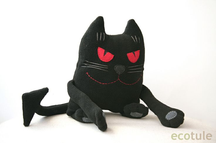 Soft toy Cat for fans of Mikhail Bulgakov.  It is inspired by the figure of a cat Behemoth.  It was made from fleece, filled with hypoallergenic filling.  Suitable for children and adults.