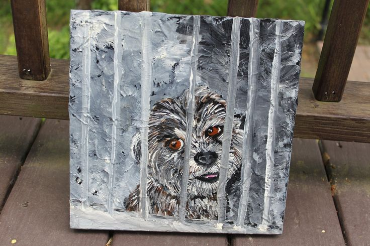 """Painting - Tonight the Night? 10"""" x 10"""" x 1"""" Textured Wooden Canvas. I've decided to sell some of my original paintings, and this one is up for sale. Once it's gone - that's all. The story behind this is I was looking at dogs in cages at Animal Control and feeling so sad for them. I painted this as a way to calm my pain. It's called """"Tonight the Night?"""" because we don't know whether tonight is the night this dog will be loved or be taken to the death chamber. This is a high quality wooden..."""