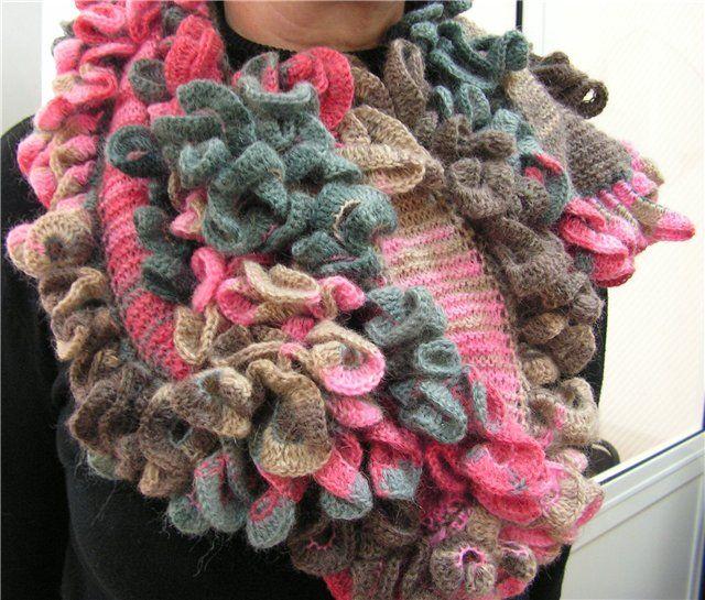 Вязание шарфов с воланом