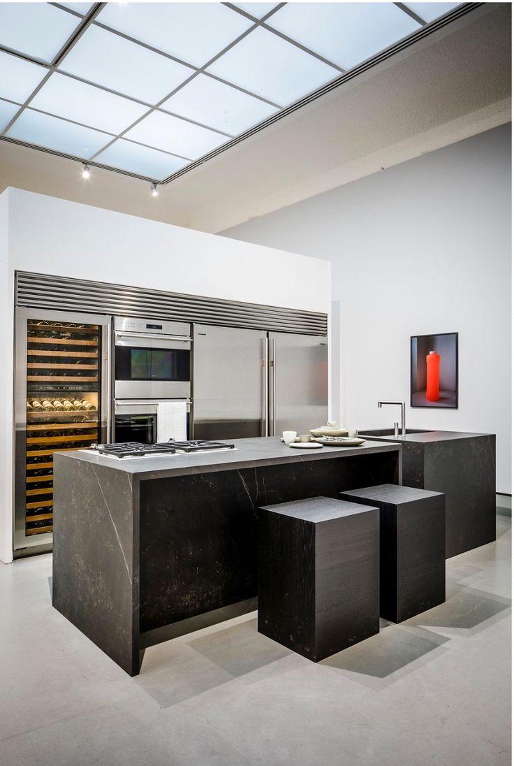Salon Residence Laren 2015   cooking island   dekton l deep dark finish   oak stools   Sub Zero   wine storage   refrigerator   freezer   ovens   Ruud van Oosterhout design