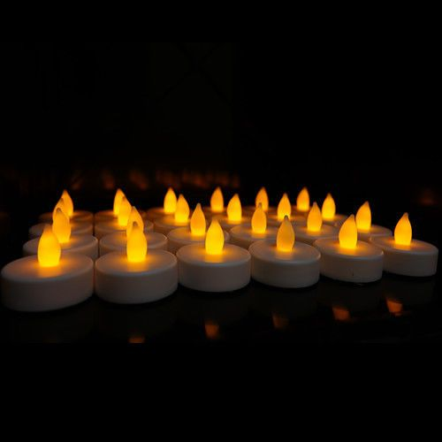 24 Flameless Battery Christmas LED Tea Light Flickering Amber Tealights Candles #CYS
