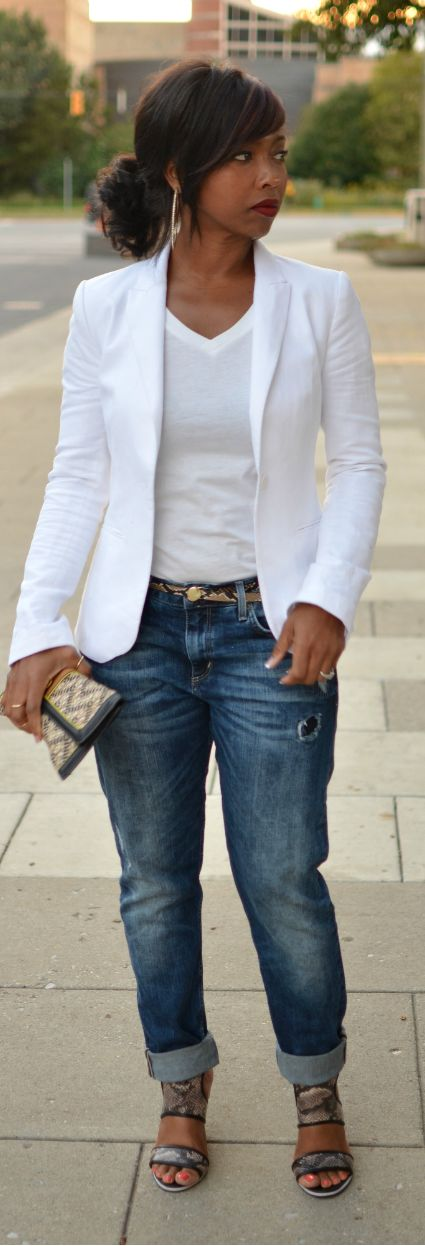 White Blazer Outfit Idea. Blue jeans. women fashion outfit clothing stylish apparel @roressclothes closet ideas