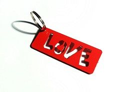 Love Keyring, Powder coated in Red. Designed by Michael Sathorar. www.sathandsath.co.za