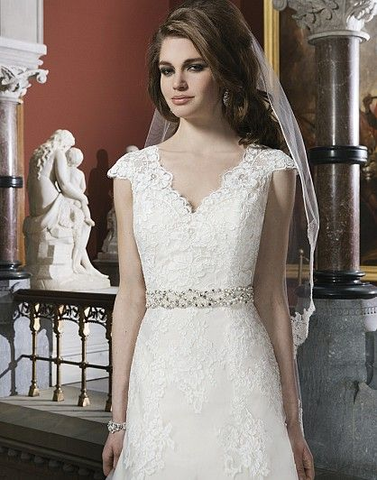 Lace wedding dress with short sleeves  #sleeves #dress #vneckline
