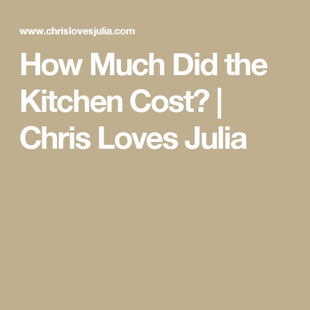 How Much Did the Kitchen Cost? | Chris Loves Julia