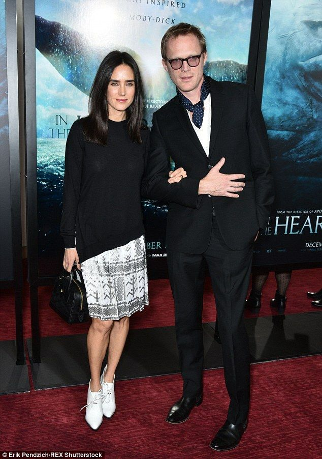 Well-styled: Married coupleJennifer Connelly and Paul Bettany spent Monday night atthe In The Heart Of The Sea premiere in New York