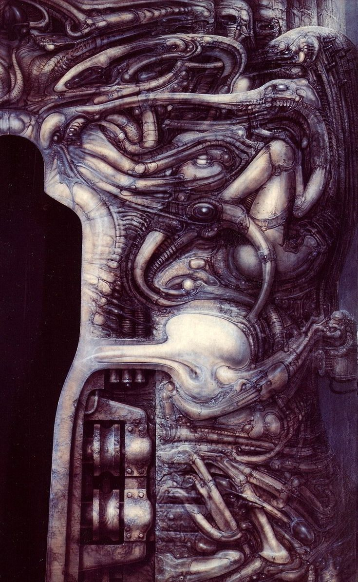 Hr giger tattoo designs - Passage Temple Entrance Fragment By H