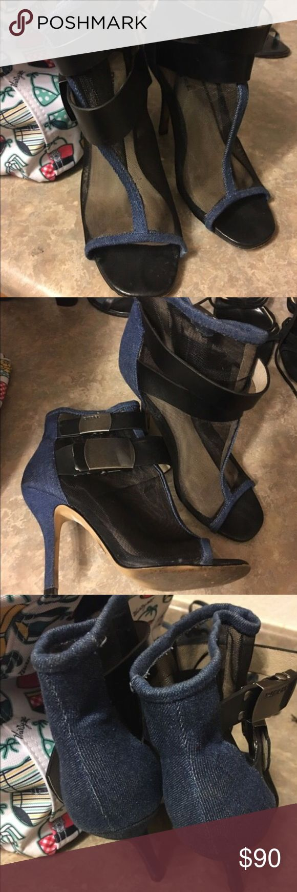 Diesel Denim & Mesh Bootie Heels Diesel buckle up Mesh and Denim Booties in women's size 6.5 and I'm a 7, fits both.          Paid $325 last year Diesel Shoes Ankle Boots & Booties