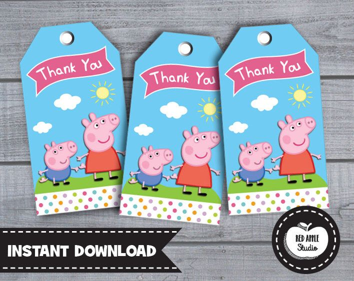 PEPPA PIG TAGS Thank You Tag Party Favors Party Labels Birthday Party Supplies Cute Printable Instant Download Custom Party Kawaii de RedAppleStudio en Etsy https://www.etsy.com/es/listing/222859448/peppa-pig-tags-thank-you-tag-party