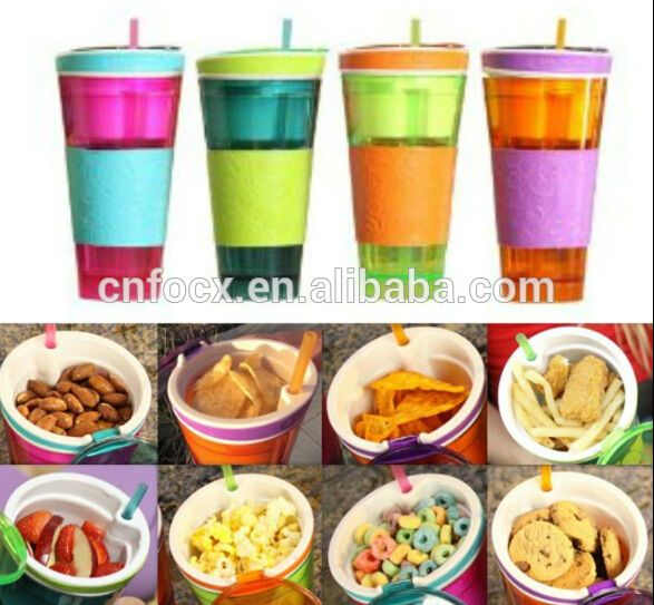 Source Plastic 2 in 1 Snack & Drink Cup One Cup Assorted Colors , Fast food cup , fruit cup with straw on m.alibaba.com