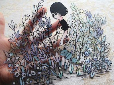 【切り絵】青い草原|小娘の切り絵制作日記