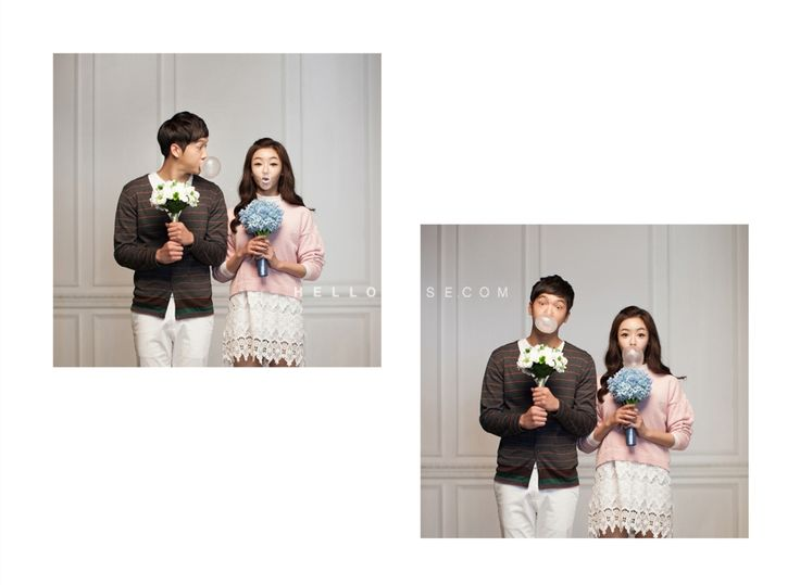 pastel color knit matching couple look