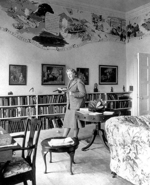 Agatha Christie in her summer home in Devon, England.