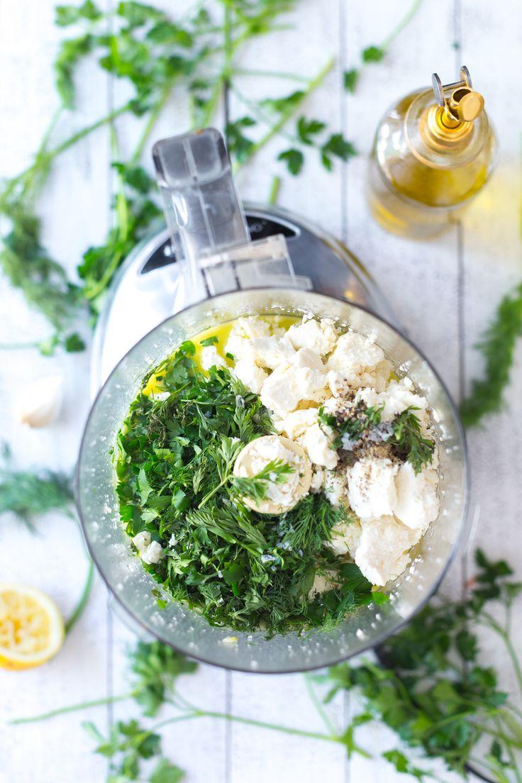 Mixing Herby Feta Dip sauce for Roasted Carrot & Herby Feta Galette by Baking The Goods     @beckysuebakes     bakingthegoods.com